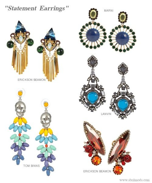 Statement earrings. Aretes grandes y llamativos en diferentes materiales y colores